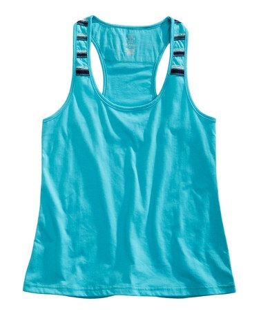 Take a look at this Tin Haul Aqua Blue Stripe Racerback Tank by Tin Haul on #zulily today!