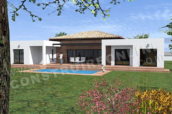 Plan de maison moderne plain pied template 3 houses and interors in 2018 pinterest plan - Plan maison plein pied moderne ...