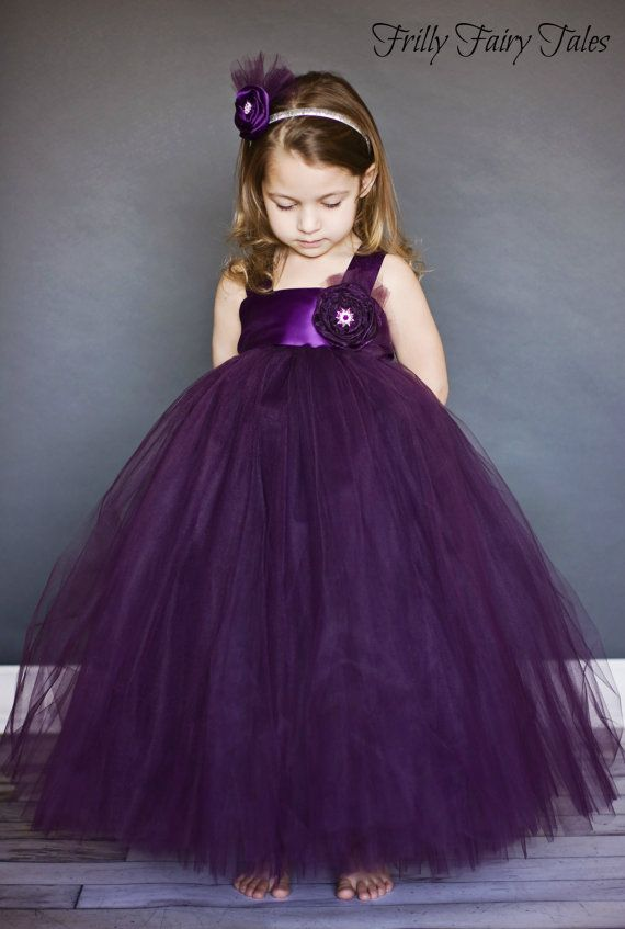 55e6e320f Plum Eggplant Flower Girl Tulle Dress Tutu Dress | Kristen Wedding ...