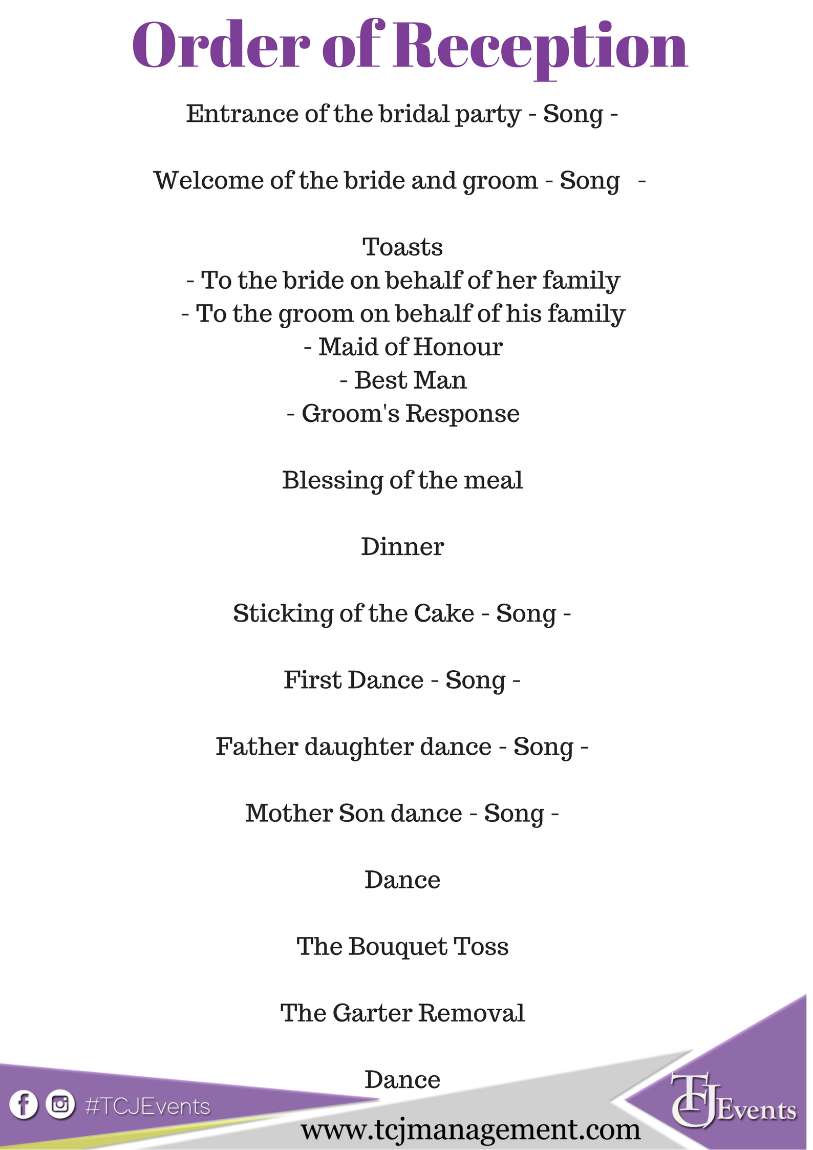 A Suggested Order For Your Wedding Reception Programme In