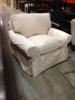 Ivory slipcover oversized chair