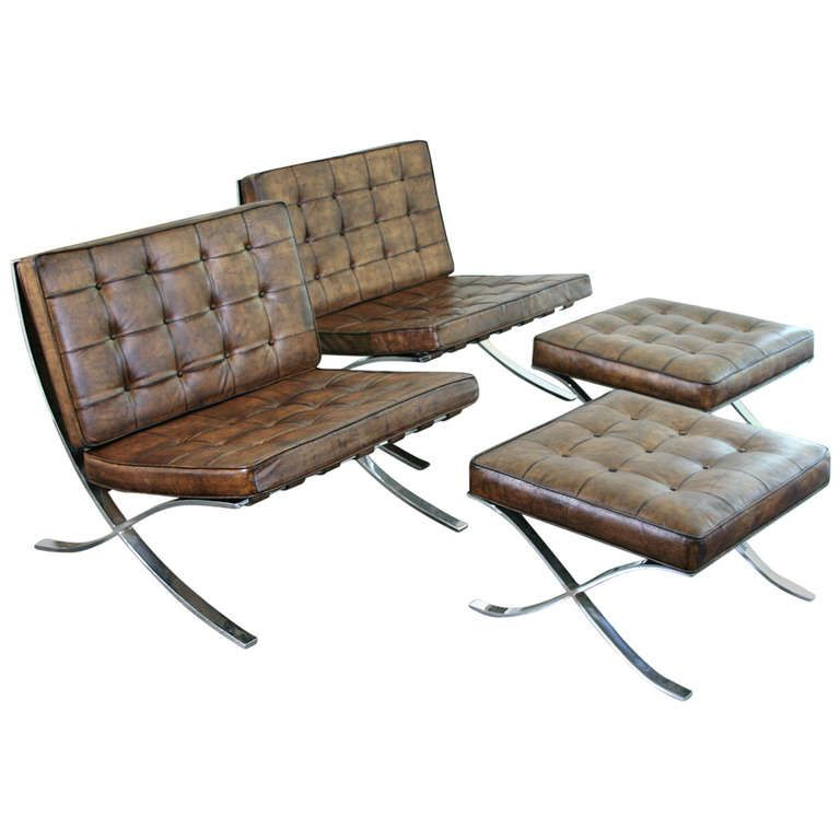 a pair of vintage barcelona chairs with ottomans | ottomans, side