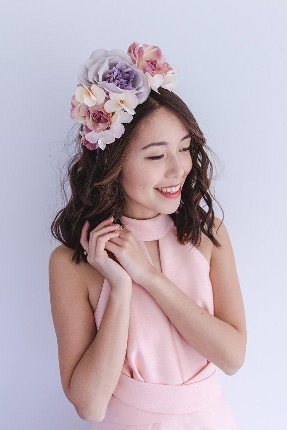 pastel romantic spring racing flower crown fascinator    statement floral  headpiece headband 8bce72308c6