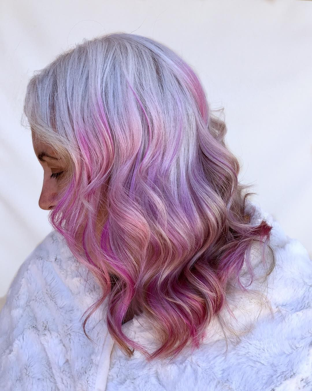 Snow White Pastels This Beautiful Client Of Mine Had Naturally White Hair The Perfect Canvas For Colour Rainbow H Artistic Hair Rainbow Hair Hair Styles