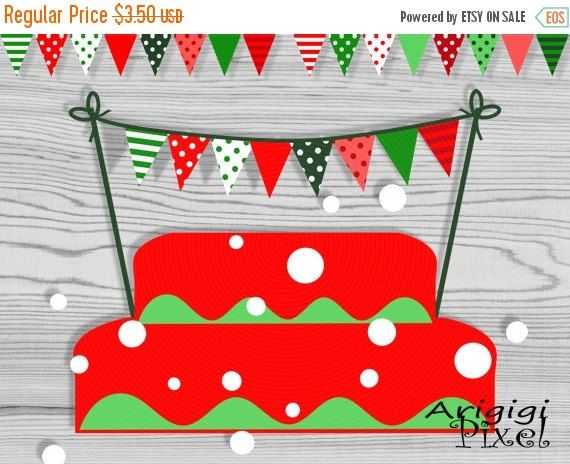 ON SALE 50 OFF Christmas Cake Bunting Printable Mini Banner Red