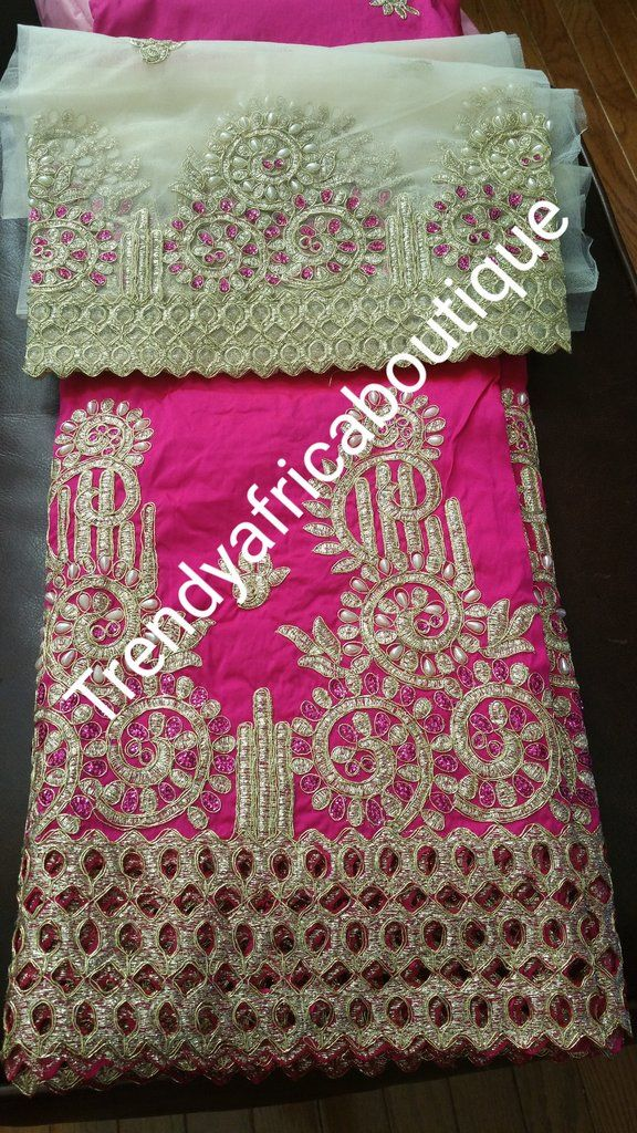 b6236ddd1b5bca Original Embroidery/stones Silk George wrapper and matching blouse set. For  Nigerian party dress