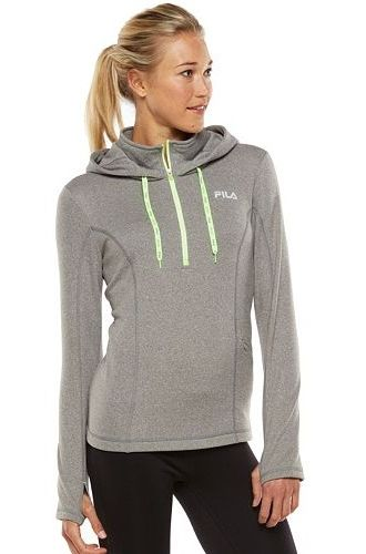 fila 1 4 zip. fila sport® fleece 1/4-zip running hoodie - women\u0027s fila 1 4 zip