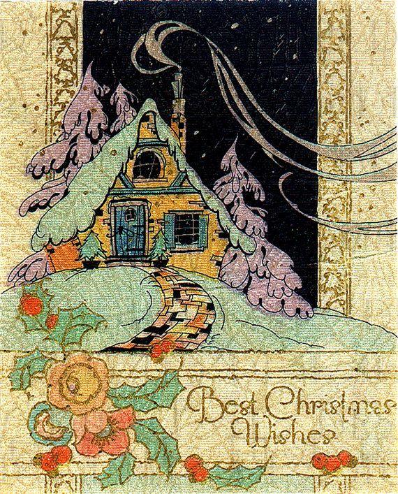Unusual RARE Art Deco Christmas COTTAGE. Digital Vintage Cottage Christmas Card Illustration. Vintage Christmas Card DIGITAL Download.