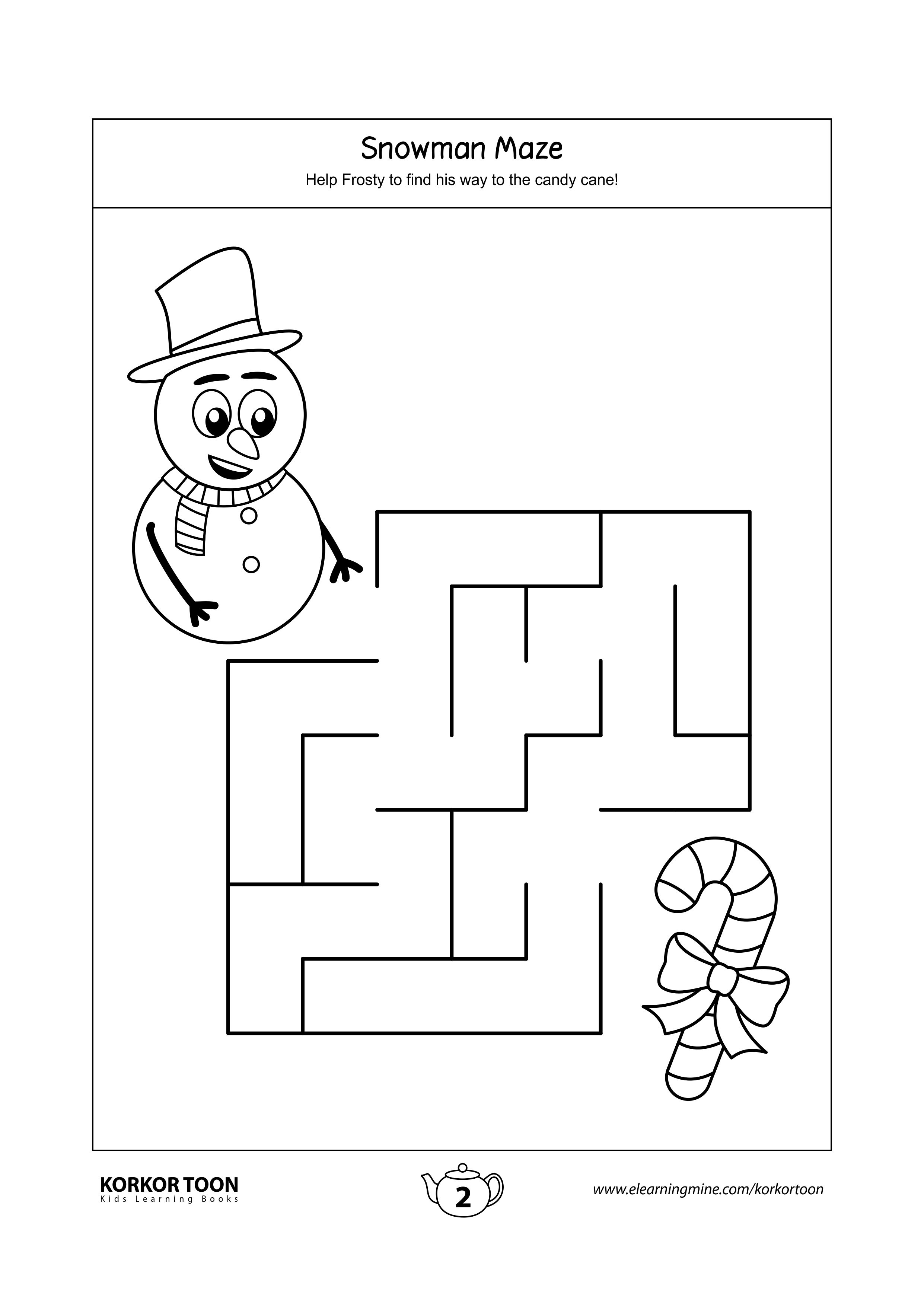 Snowman Maze Game For Kids