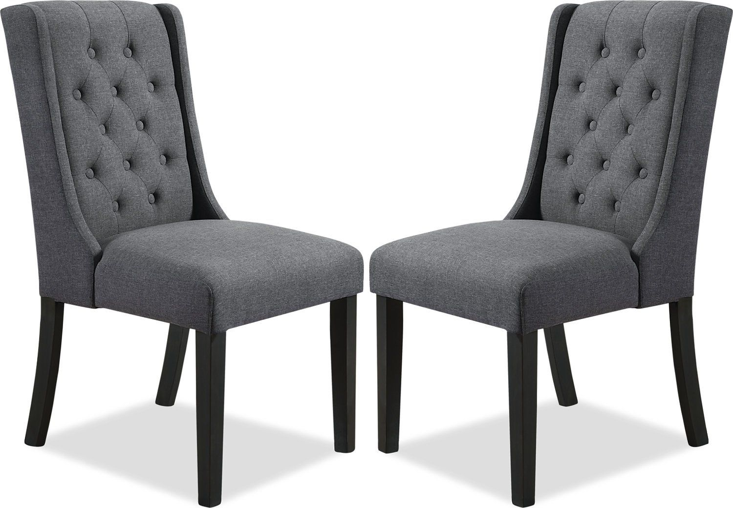 York Wingback Dining Chair Set Of 2 Grey The Brick Wingback