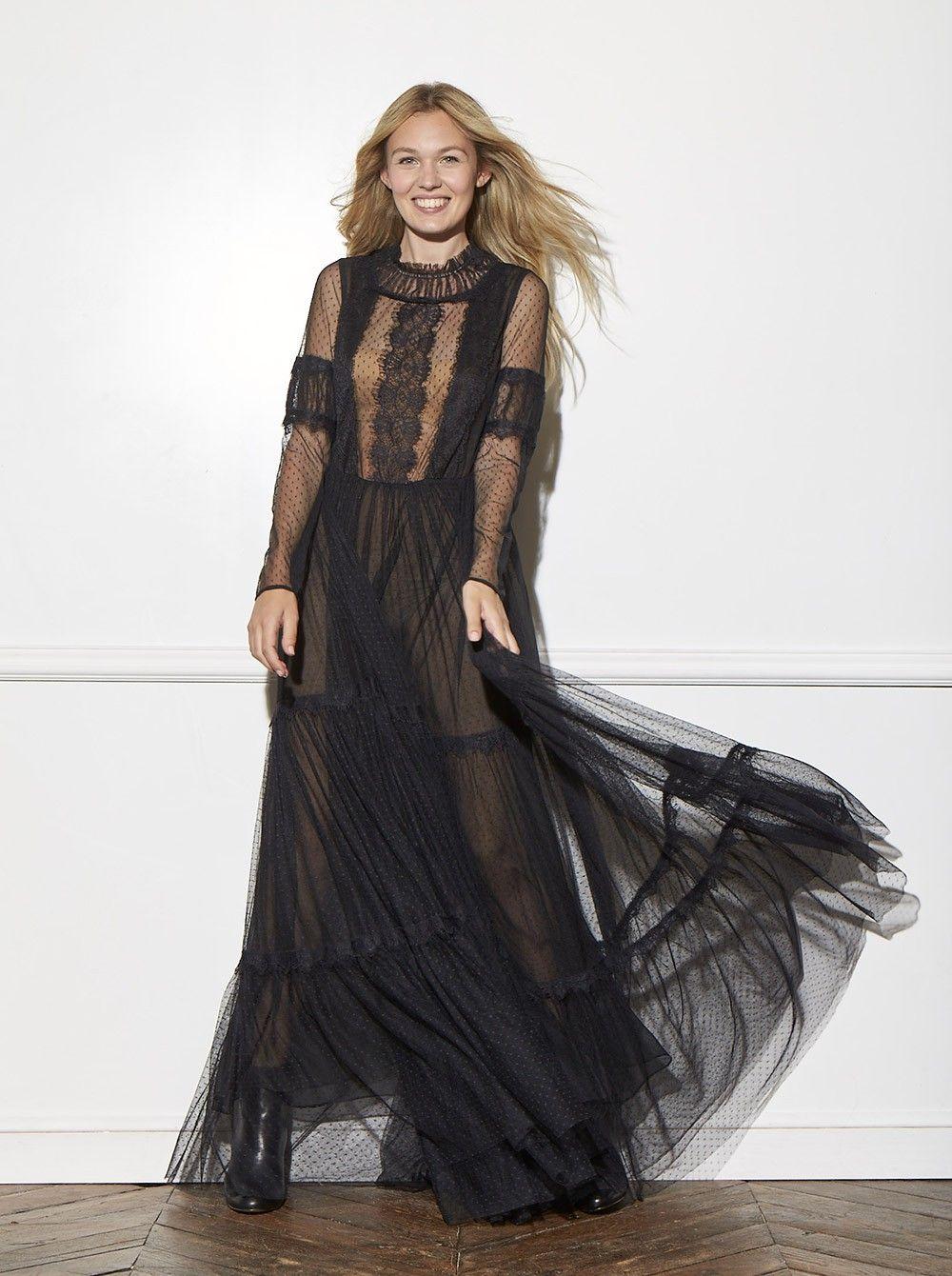 Robe longue dentelle NOIR - Robes Femme - NAF NAF   Vêtement ... d79744a0074c