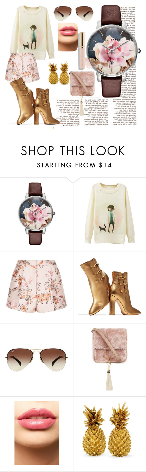 """""""Floral Joy"""" by bwoodcreations on Polyvore featuring Ted Baker, STELLA McCARTNEY, Gianvito Rossi, Ray-Ban, Brother Vellies, LASplash and Beautycounter"""