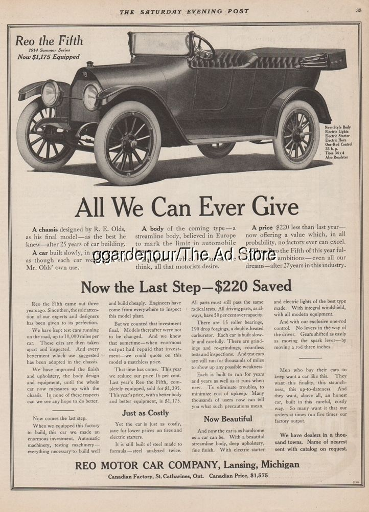 1914 Reo Motor Car Company Lansing MI The Fifth Summer Series ...