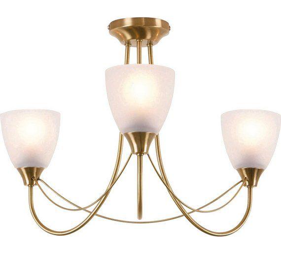 Bathroom Light Fixtures Argos buy home symphony 3 light ceiling fitting - antique brass at argos