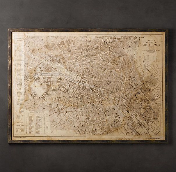 Vintage Paris Map Our Print Is Reproduced From An: Framed Map Of Paris At Slyspyder.com
