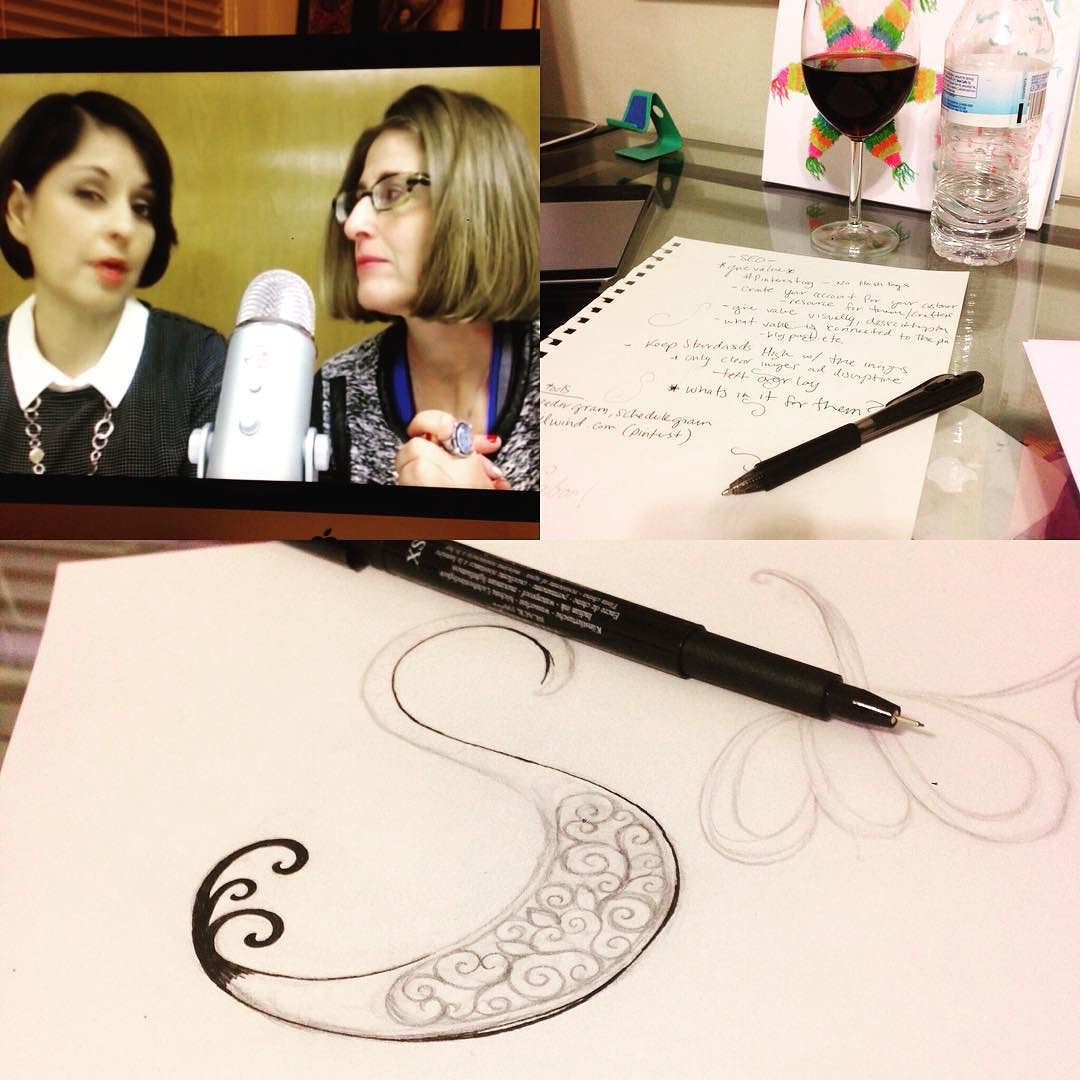 Late night sketching while learning the ins and outs of #pinterest #marketing vs #instagram marketing with these two lovely ladies @suebzimmerman @ohsopinteresting Thanks for your great tips!! #crystaldomi  by crystal_domi