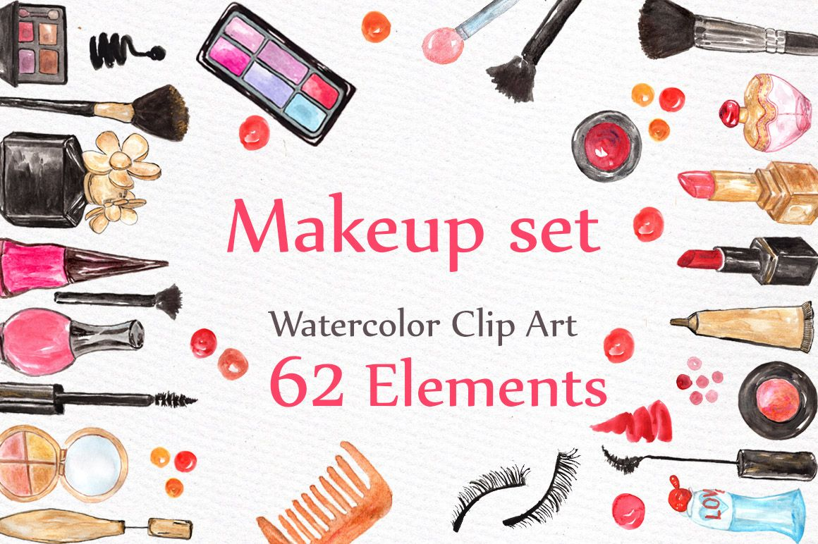 Watercolor makeup set - Illustrations - 1