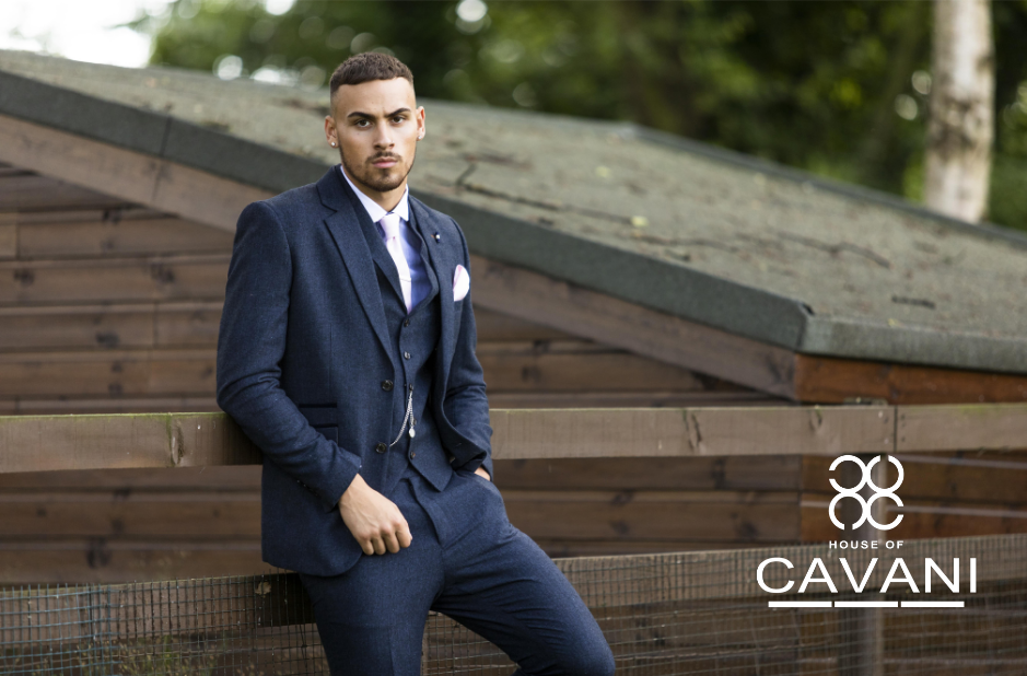 Cavani Martez Tweed Navy Men/'s Slim Fit Trousers