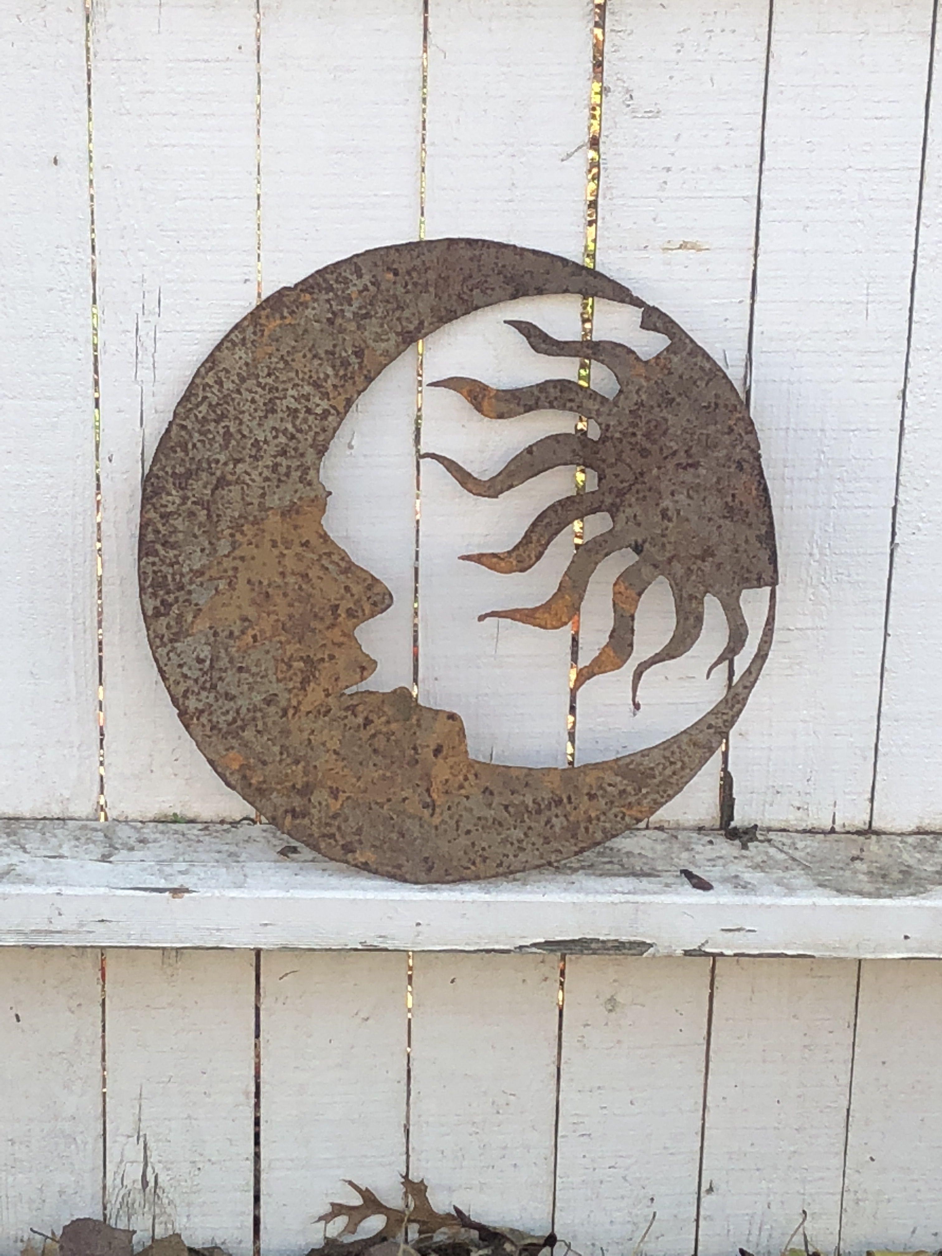 Moon And Sun Sheet Metal Art Sheet Metal Art Metal Art Projects Sheet Metal Crafts