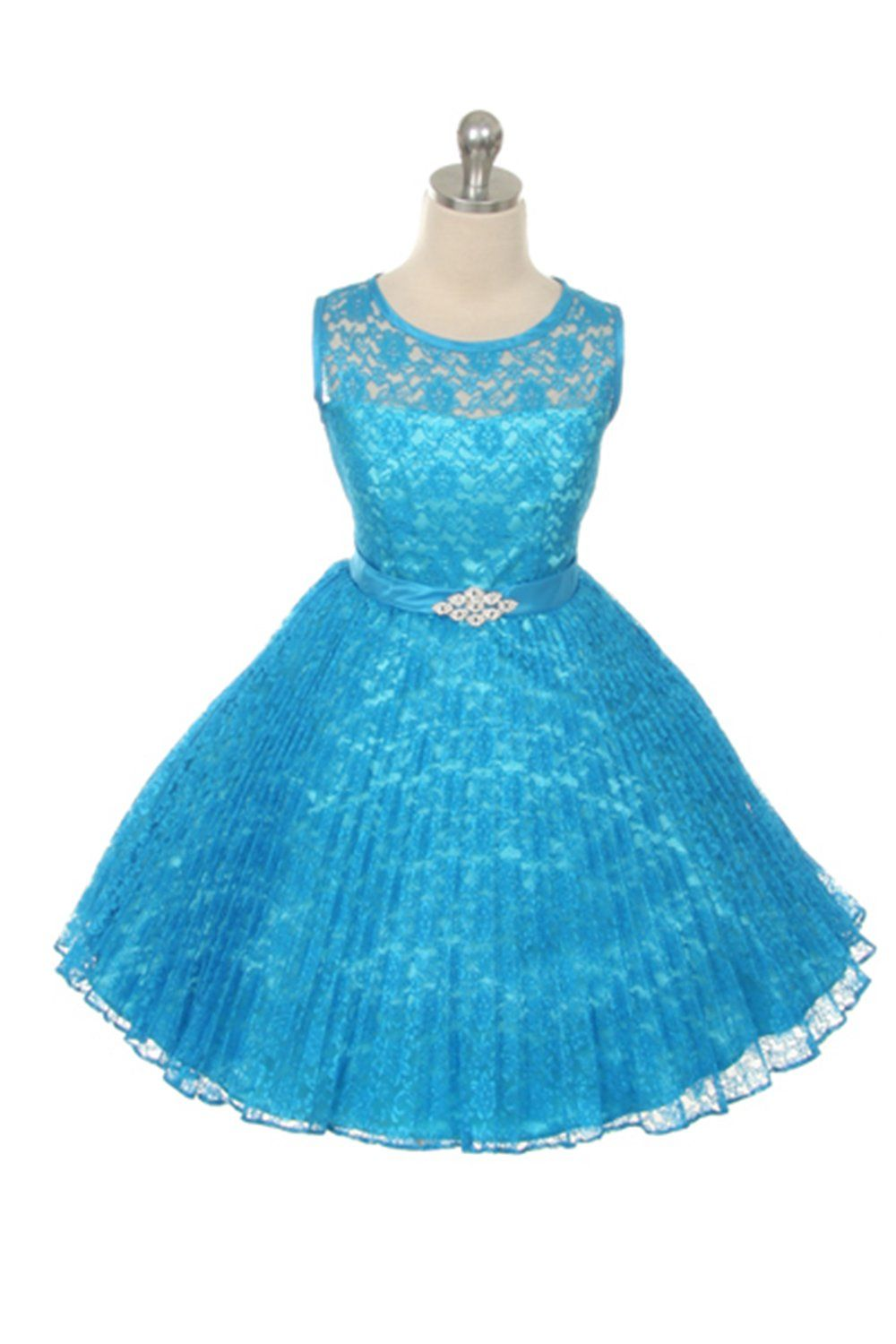 Turquoise Lace Pleated Flower Girl Dresses