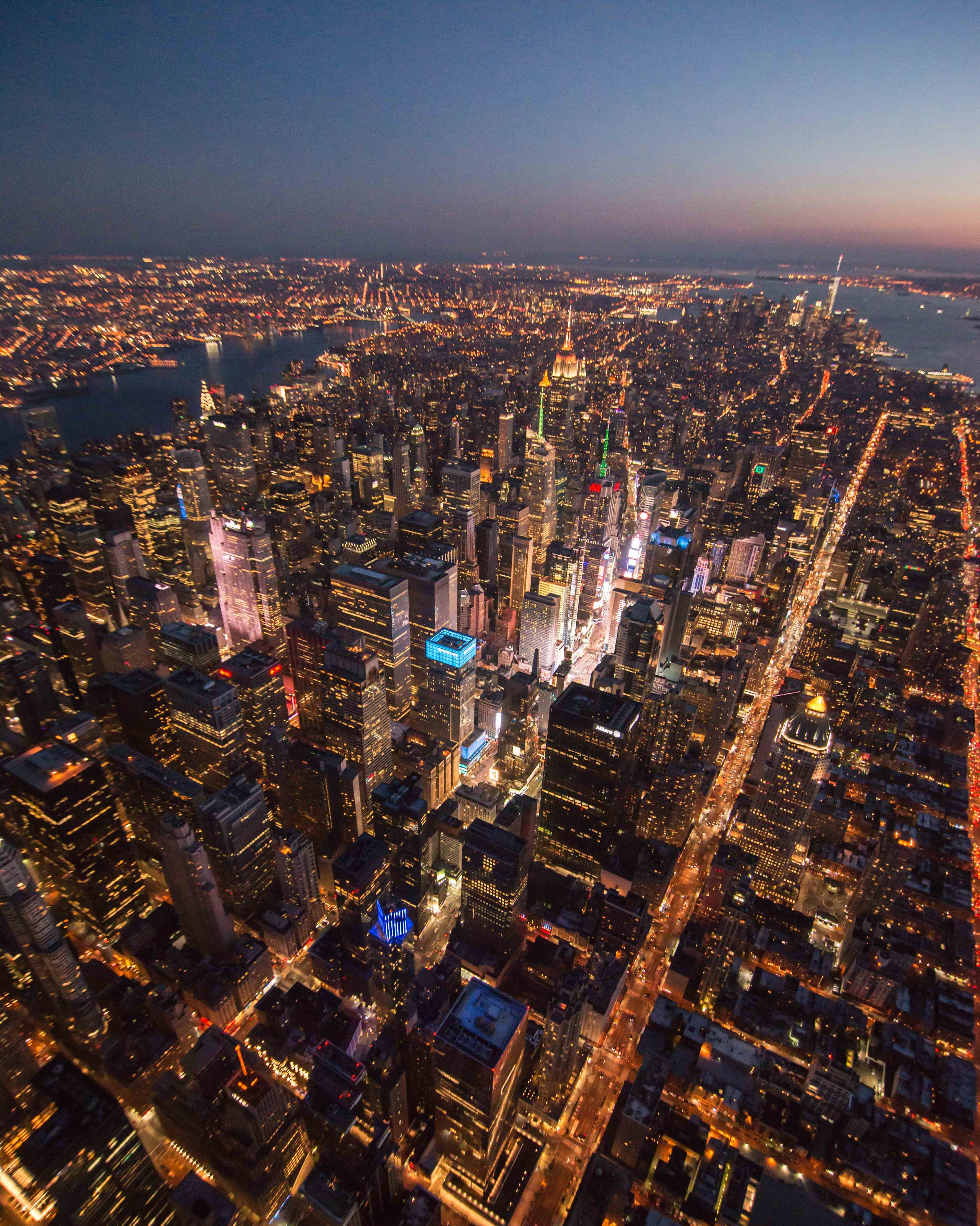 Look Down Of Times Square During Flynyon Sunset Doorless Helicopter Flight New York York Photo