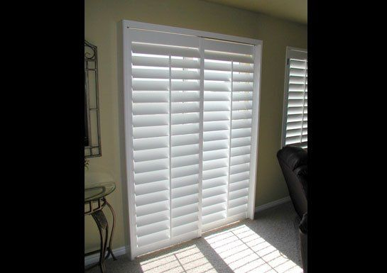 Plantation Shutter For Sliding Glass Door; Love This Idea