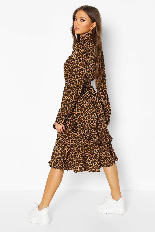 Leopard Print High Neck Ruffle Midi Dress Boohoo In 2020 Midi Ruffle Dress Midi Dress Outfit Leopard Dress Outfit