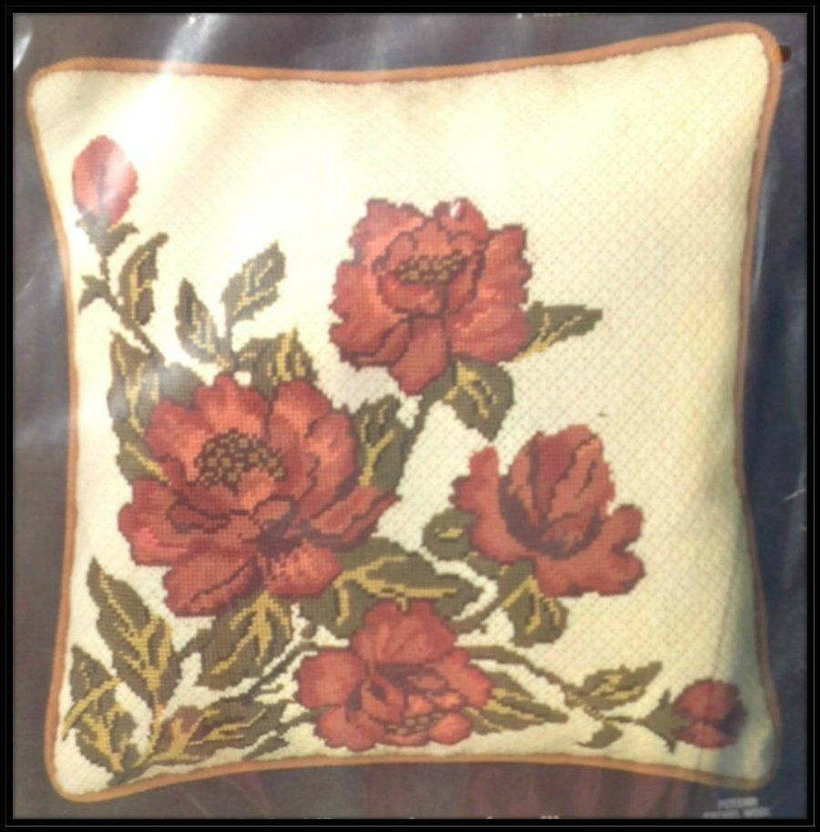 "OLDER VINTAGE BUCILLA FLORAL ""PEONIES"" PILLOW NEEDLEPOINT KIT ~ SEALED"