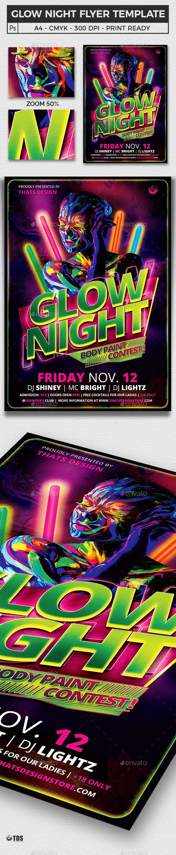 Glow Night Flyer Template Flyer template, Templates