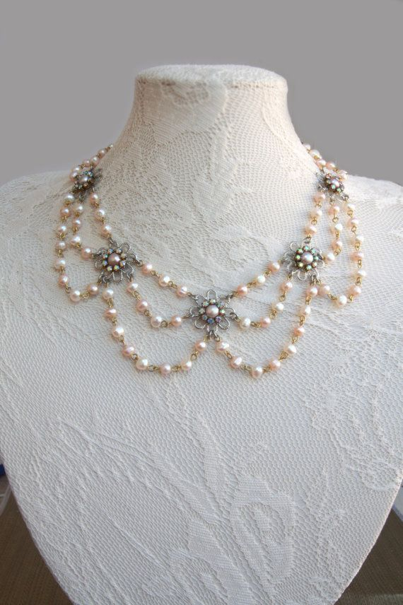 Vintage Pearl Bridal Necklace Champagne Necklace Wedding Pearl