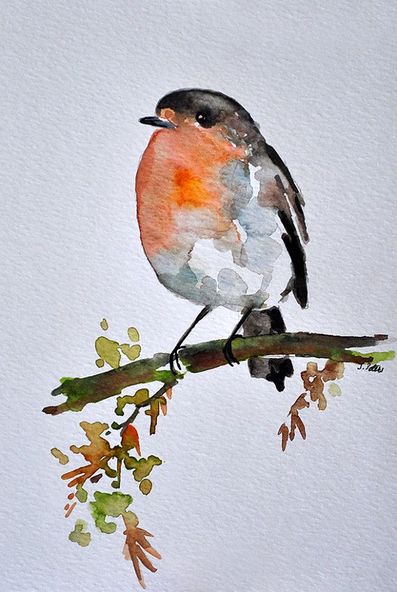 Original Watercolor Bird Painting Robin On A Branch 6x8 Inch