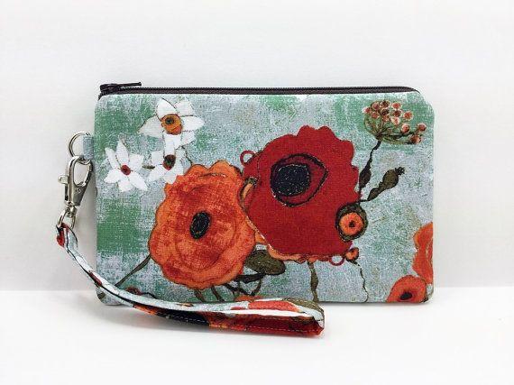 Poppy Flower Cell Phone Wristlet Small Clutch by ZestyNotion