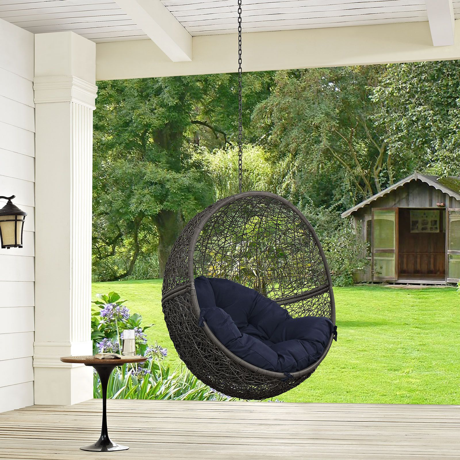 Hide outdoor patio swing chair with stand gray navy escape to an