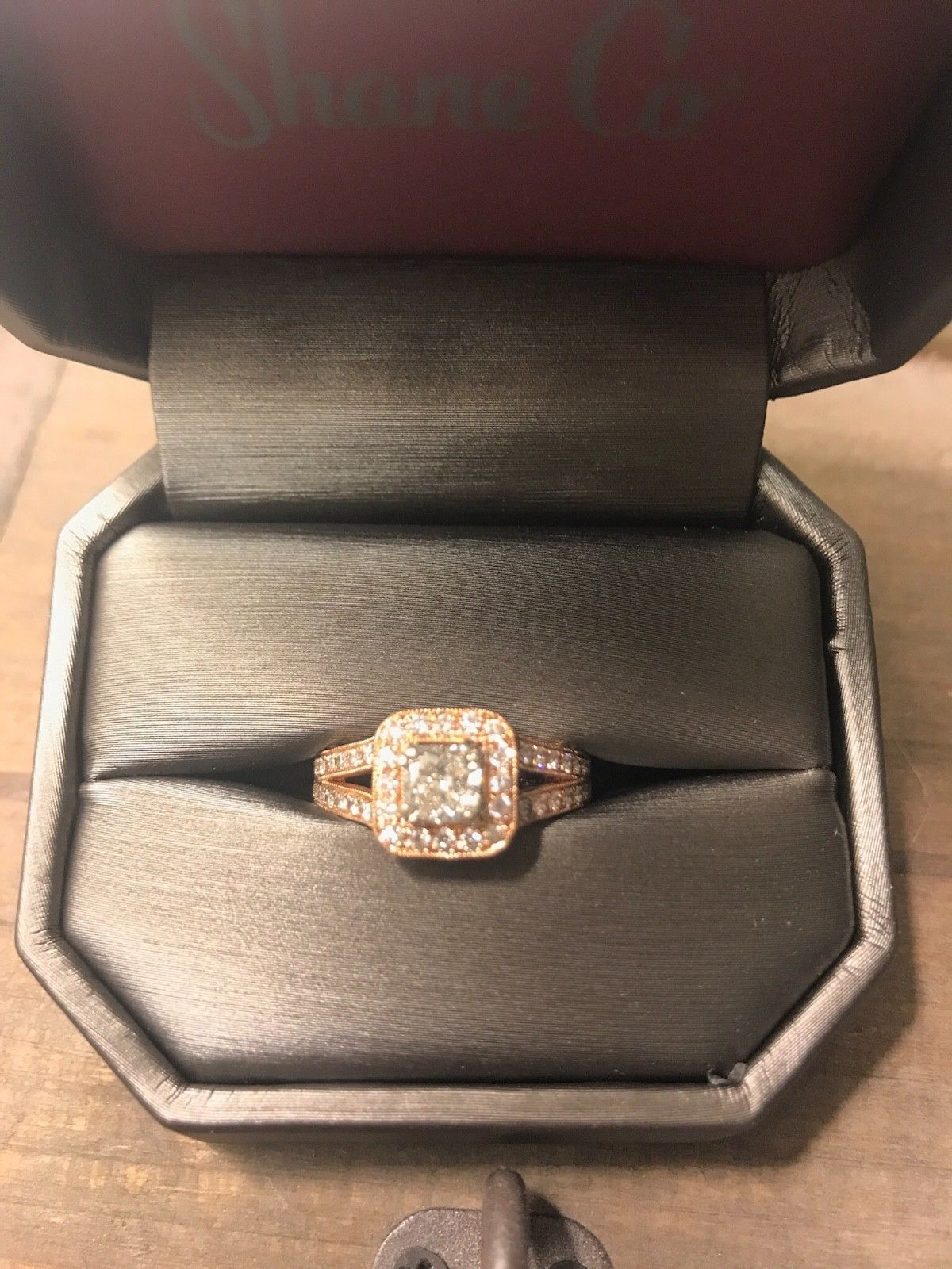 K rose gold cushion cut diamond engagement ring vintage style