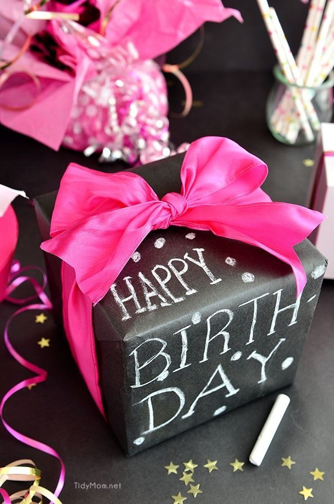 Chalkboard Inspired Gift Wrap That Is Personal Useful And Tough To Outdo See More 50th Birthday Ideas Party At One Stop