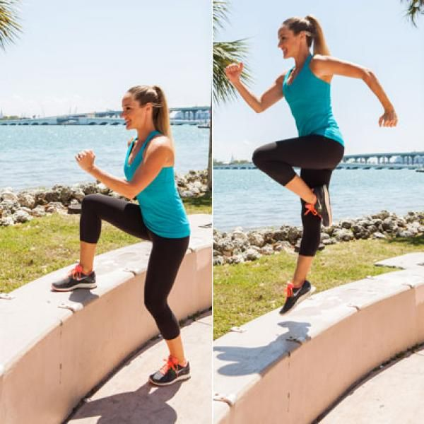 Outdoor Workout Routine: Skip Ups - Outdoor Workout Routine: Total-Body Toning with a Park Bench - Shape Magazine | Bench workout, Outdoor workouts, Park workout