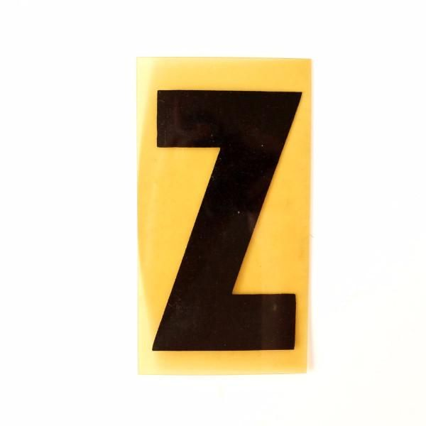"""Vintage Industrial Marquee Sign Letter """"Z"""", Black on Yellow Flexible Plastic, 7"""" tall (c.1970s)"""