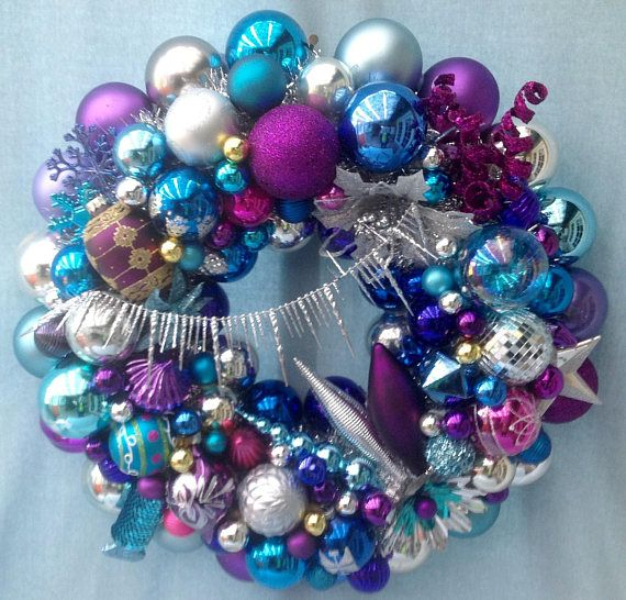 Red Turquoise Not Just For Holiday Decor: Christmas Ornament Wreath ,blue, Turquoise, Purple