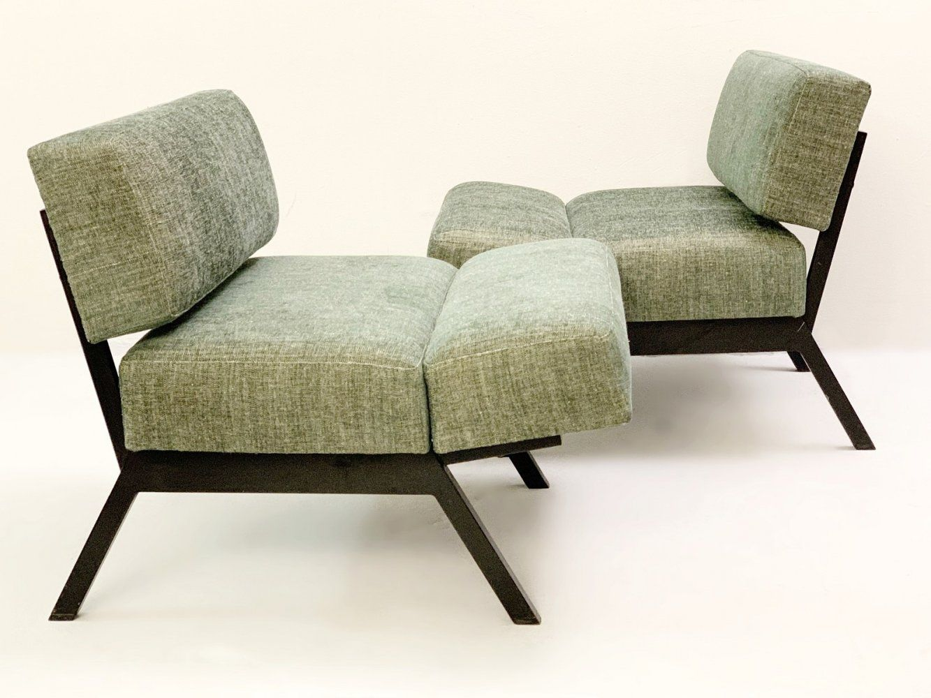 For Sale Pair Of Italian Panchetto Reclining Chairs By Rito Valla For Ipe 1960s