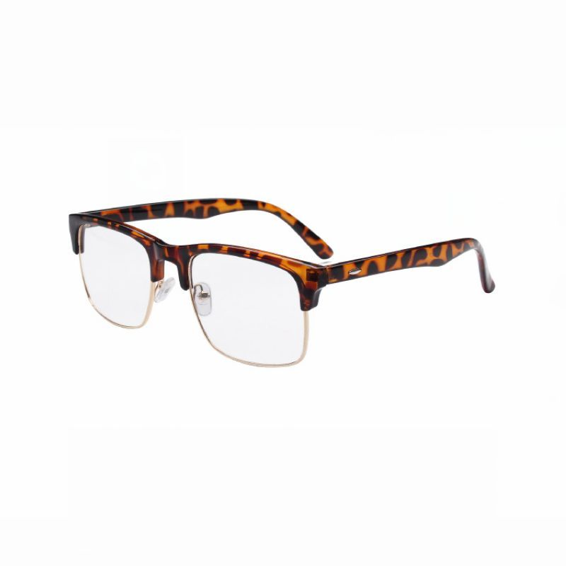 Square Plastic and Metal Unisex Spectacles Semi-Rimless Frames Tortoise Brown