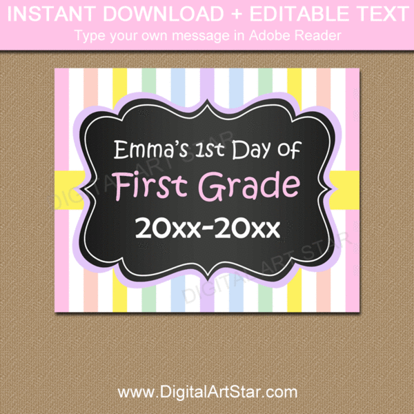 Pastel First Day of School Sign Printable PDF #firstdayofschoolsign