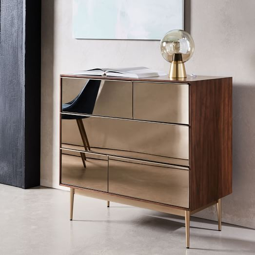 Delicieux Our Nouveau Dresseru0027s Mirrored Drawer Fronts In A Subtle Bronze Finish Are  Framed In A Warm Walnut Case Lofted On Bronzed Metal Legs.