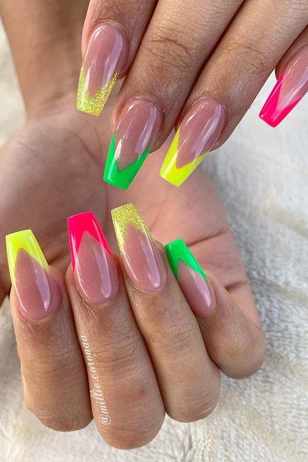 Black White V Shape Design Nails Coffin Nails Designs Luminous Nails Nail Designs