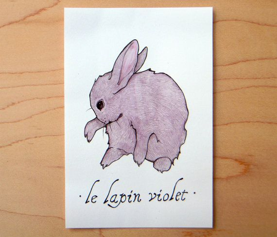 Le Lapin Violet Mini Archival Print by SarahDrawsThings on Etsy, $6.00