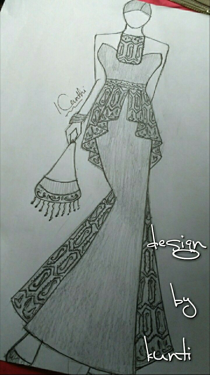 Combination kain songket dress style sketch