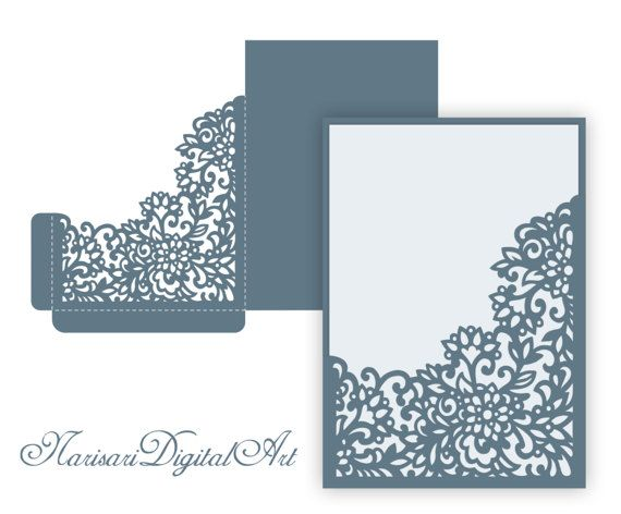 Laser Cut Wedding Invitation Pocket Envelope X Corner Frame Svg