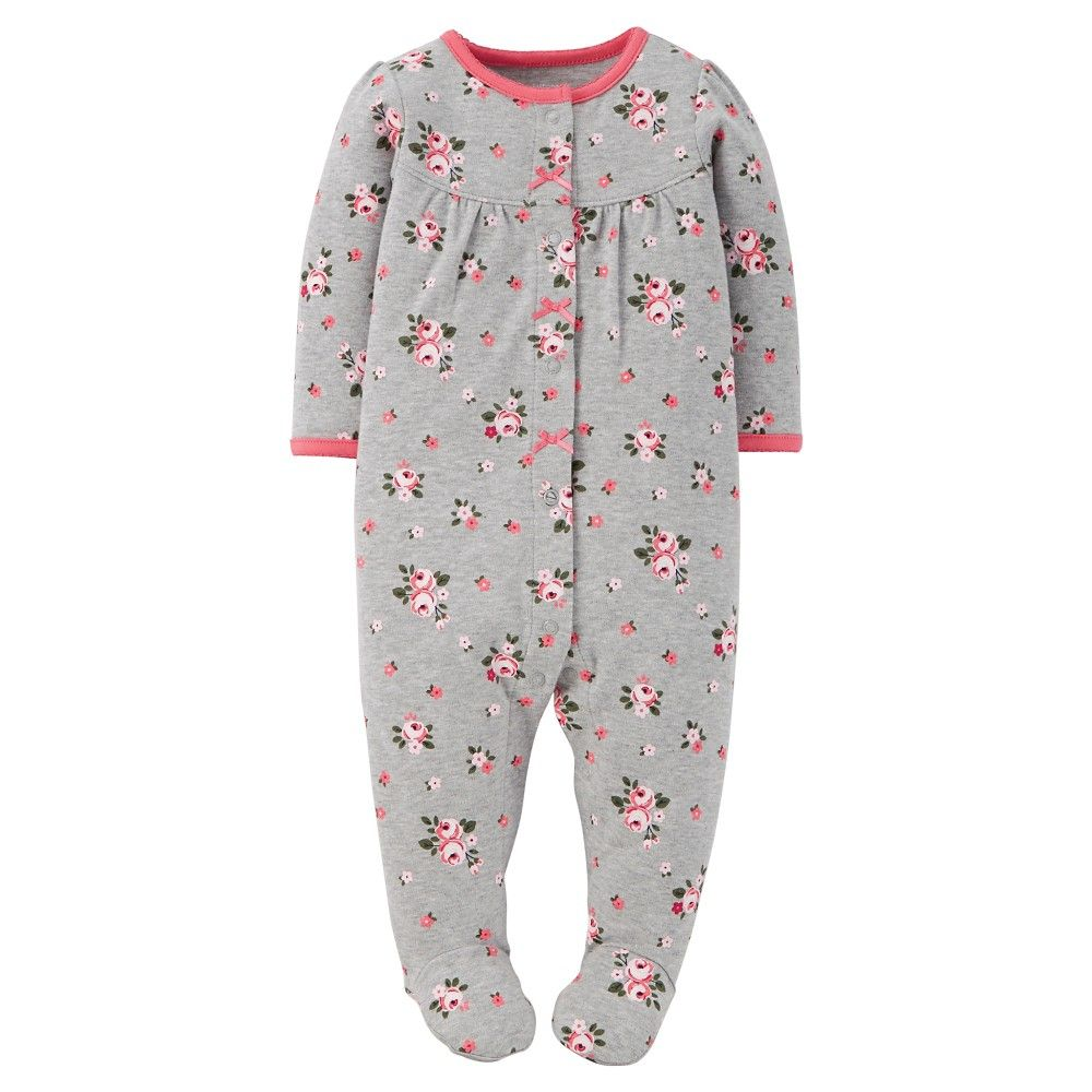 12717155ee29 Just One You Made by Carter s Sleep N Play Grey Floral 6 M