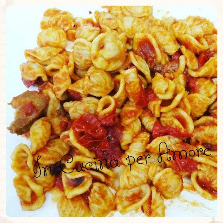 #orecchiette con pomodorini #salsiccia e #funghi #food #foodblogger #giallozafferano #primi #pasta