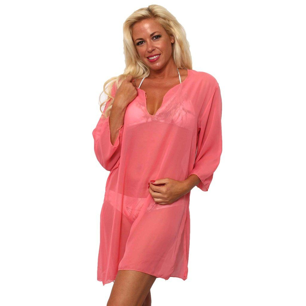 a3418a5cf7 Women's Chiffon Long Sleeve Swimwear Cover-up Beach Dress Made in the USA