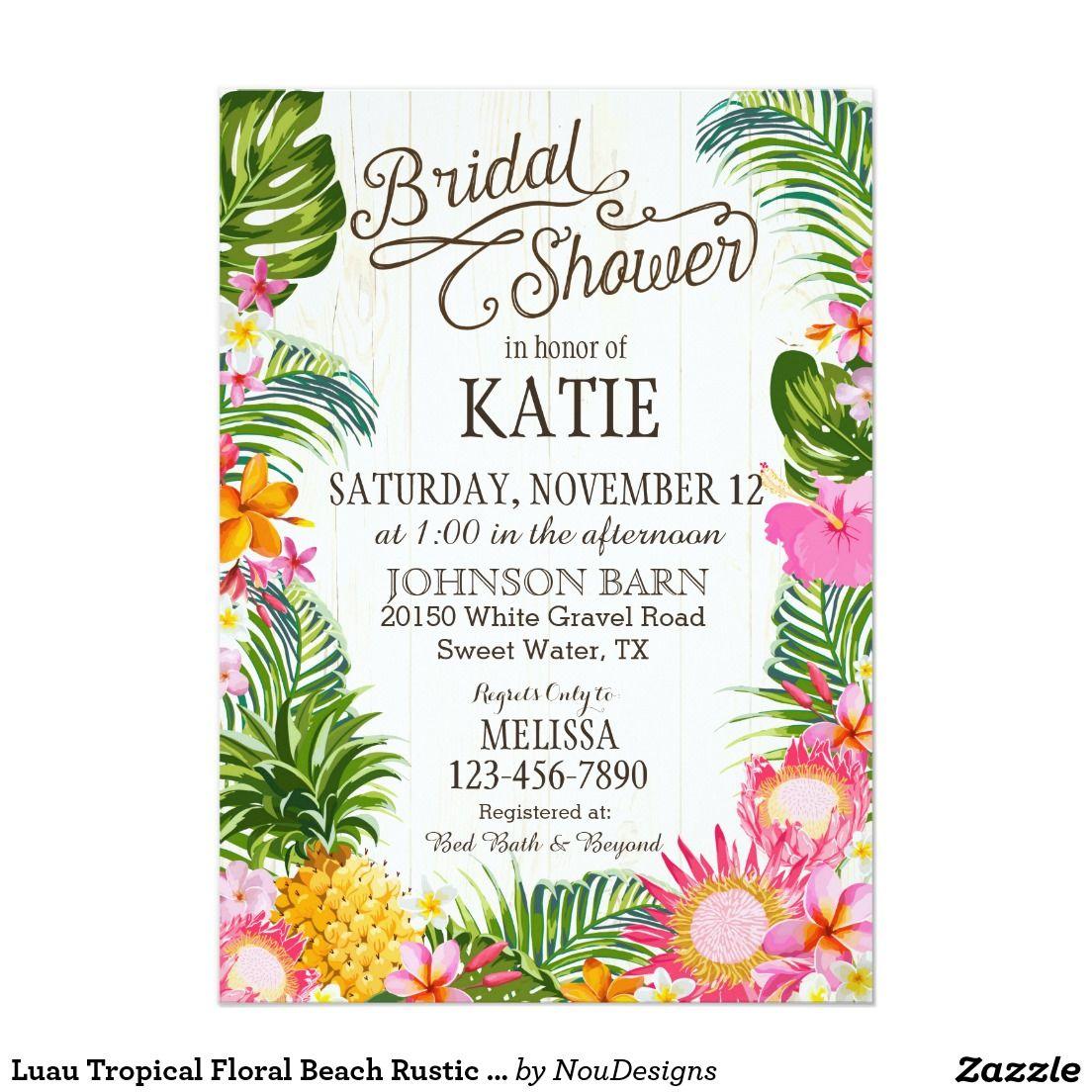 Luau Hawaiian Beach Rustic Bridal Shower Invitation | Pinterest ...